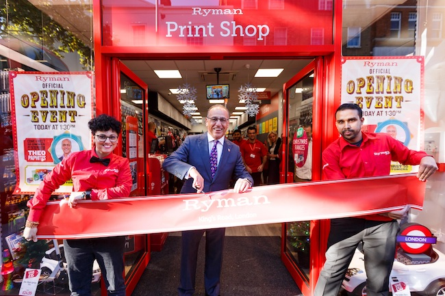 Theo Paphitis opens the new Ryman store on King's Road