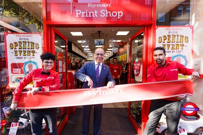 Theo Paphitis opening the new Ryman store on King's Road