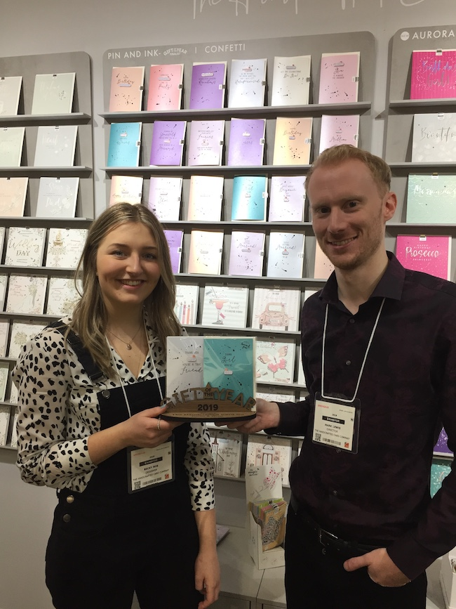 Designer Becky Roe and director Mark Lewis of The Handcrafted Card Company with their GOTY award.