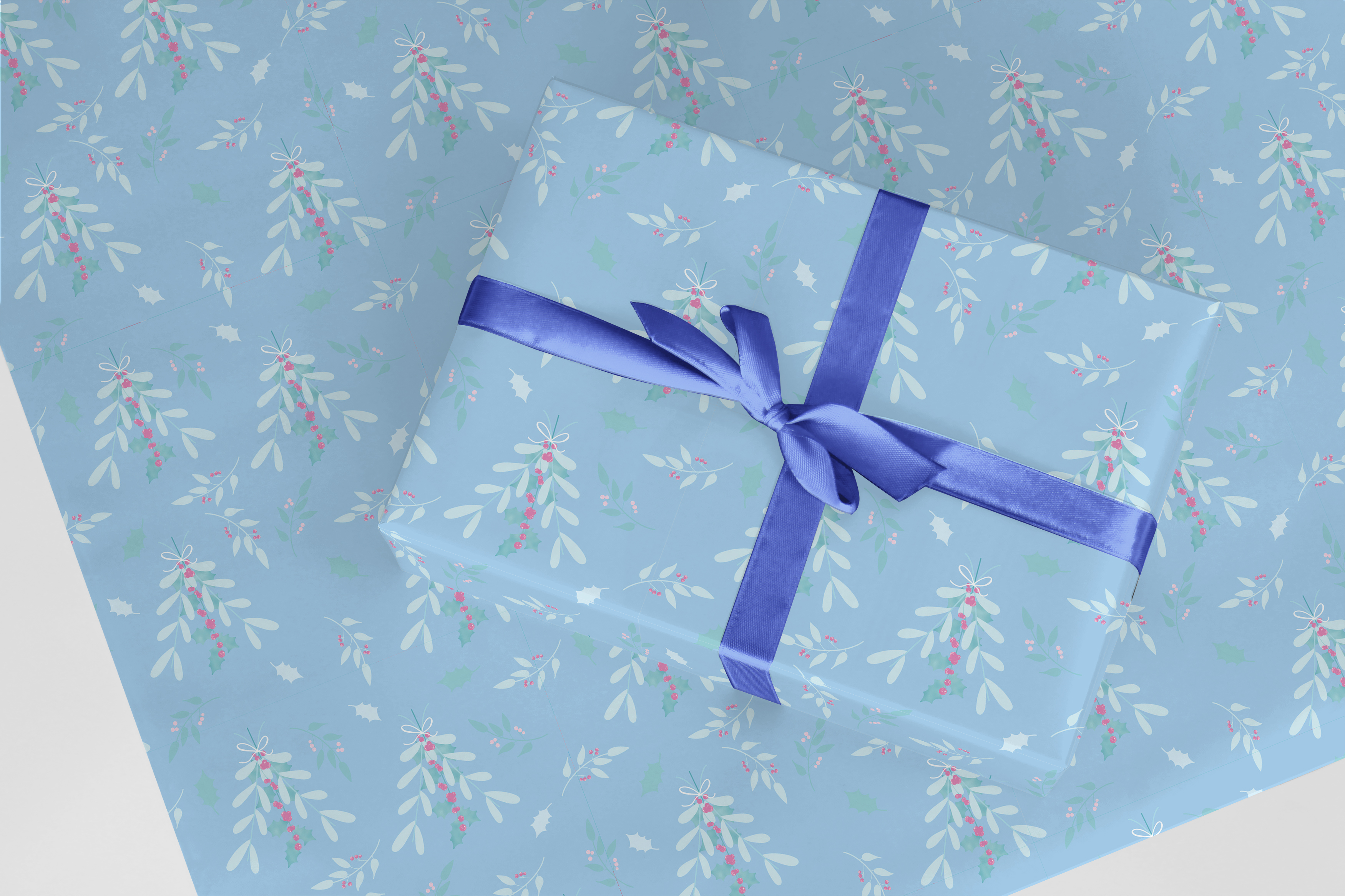 Curlicue's Mistletoe & Holly wrapping paper