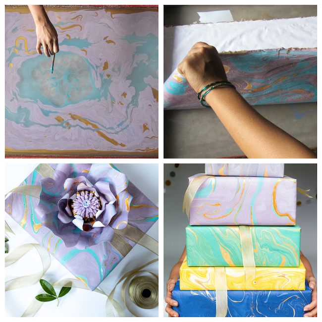 Free Spirit hand-marbled gift wrap from Paper Mirchi